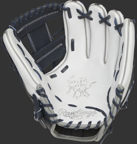 White palm of a Rawlings New York Yankees HOH glove with navy laces - SKU: RSGPRO314-2NYY