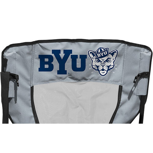 Back of Rawlings Navy and Grey NCAA Brigham Young Cougars High Back Chair With Team Name SKU #09403008518