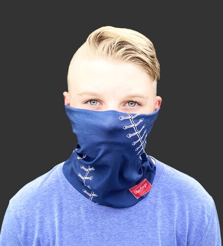 A kid wearing a navy baseball stitch neck gaiter with it covering his mouth and nose - SKU: YRC40001-400