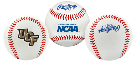 3 views of a NCAA UCF Knights baseball with a team logo, NCAA logo and Rawlings logo