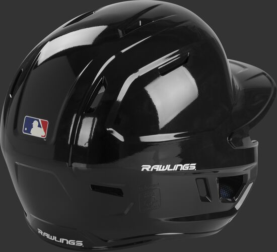 Back right of a MCH01A Rawlings Mach baseball batting helmet with a black shell