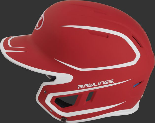 MACH Junior Rawlings batting helmet with a two-tone matte scarlet/white shell
