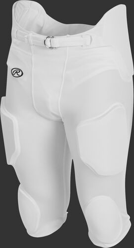 Front of Rawlings White Youth Lightweight Football Pants - SKU #YFPL