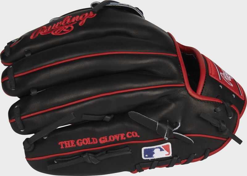 Black back of a Heart of the Hide Isiah Kiner-Falefa infield glove with the MLB logo on the pinky - SKU: RSGPRO205-IKF9