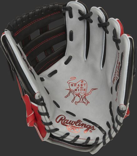 Gray palm of a Rawlings Cincinnati Reds HOH glove with scarlet stamping and black laces - SKU: RSGPRONP4-6CIN