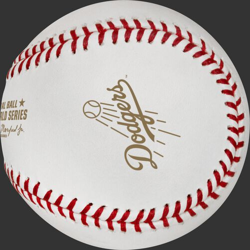 The Los Angeles Dodgers logo stamped on the WSBB18DL World Series dueling teams ball