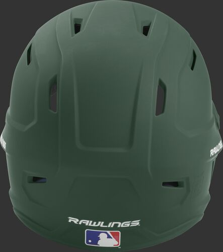 Back of a dark green MACH high performance senior helmet with the Official Batting Helmet of MLB logo