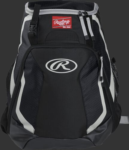 Front of a black R500 Rawlings Players team backpack with a Rawlings patch and white Oval R