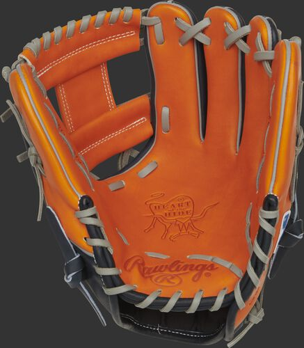 Orange palm of a Rawlings Houston Astros HOH glove with gray laces - SKU: RSGPRO204-2HOU