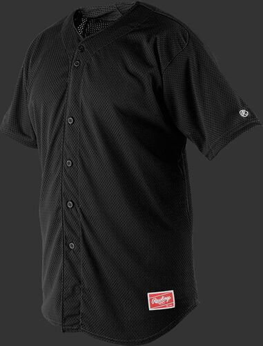Front of Rawlings Black Adult Short Sleeve Jersey  - SKU #RBJ167