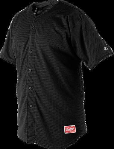 Front of Rawlings Black Youth Short Sleeve Jersey  - SKU #YBJ167