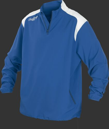 Front of Rawlings Royal Youth Long Sleeve Quarter-Zip Jacket - SKU #YFORCEJ-B-89