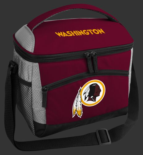 A red Washington Football Team 12 can soft sided cooler with a team logo on the front - SKU: 10111087111