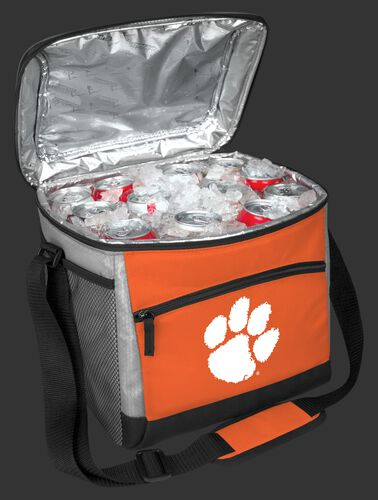 An open Clemson Tigers 24 can cooler filled with ice and drinks - SKU: 10223010111