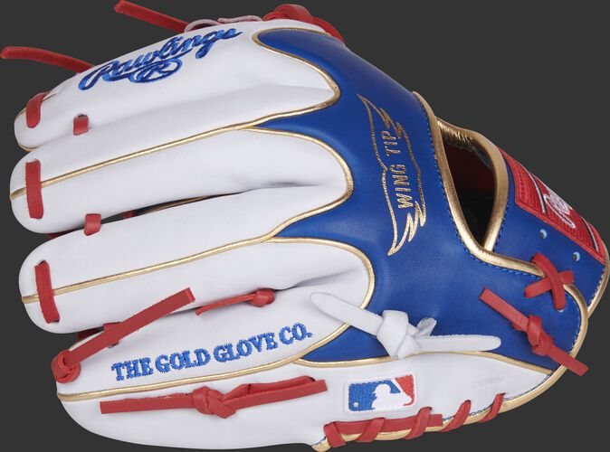 PRO204W-2SRW HOH MLB exclusive infield glove with white fingers and MLB logo on the pinky
