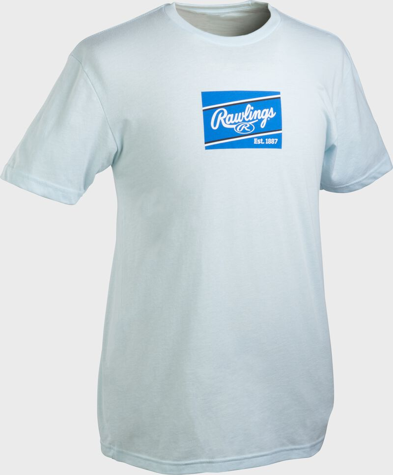 An light blue Rawlings ColorSync patch short sleeve shirt with a royal/white patch on the chest