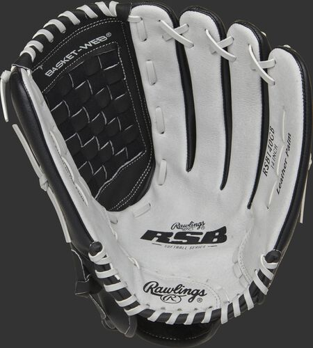 RSB140GB Rawlings Softball outfield glove with a grey palm and grey laces