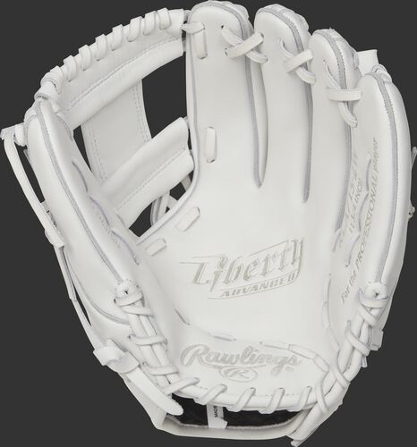 RLA715-2W Rawlings 11.75-inch softball infield glove with a white palm and white laces