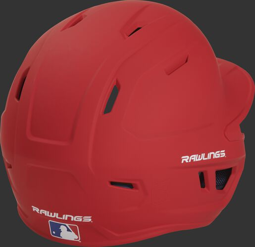 Back right of a matte scarlet MACHEXTR Rawlings junior size batting helmet