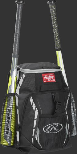 Side angle view of a black R400 youth equipment backpack with two bats in the side bat sleeves
