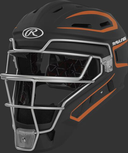 CHV27J black/orange Velo 2.0 youth catcher's helmet with white trim