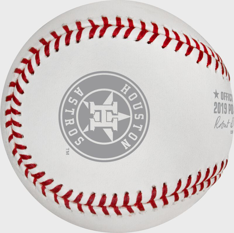 The Houston Astros logo stamped on the ALCS19DL Dueling 2019 ALCS baseball