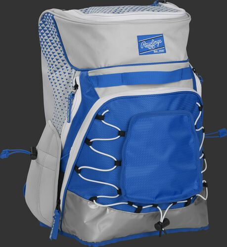 Front right of a white/royal R800 softball backpack