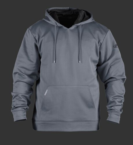 Front of Rawlings Gray Youth Long Sleeve Hoodie - SKU #YPFH