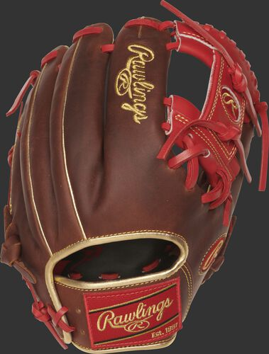 PRO204-2TIG 11.5-inch Heart of the Hide I web glove with a timberglaze back and gold welting and binding