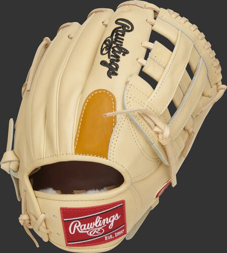 Back of a camel DJ LeMahieu Gameday 57 glove with a tan finger pad and red Rawlings patch - SKU: PROSNP4-DJ26