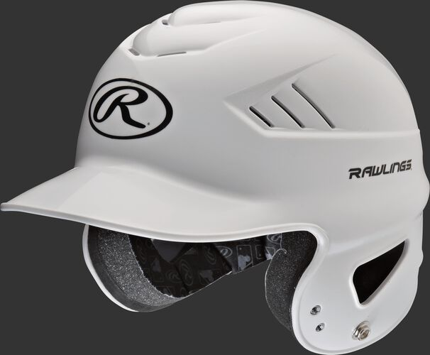 A white Coolflo batting helmet with an Oval-R logo on the front - SKU: RCFH