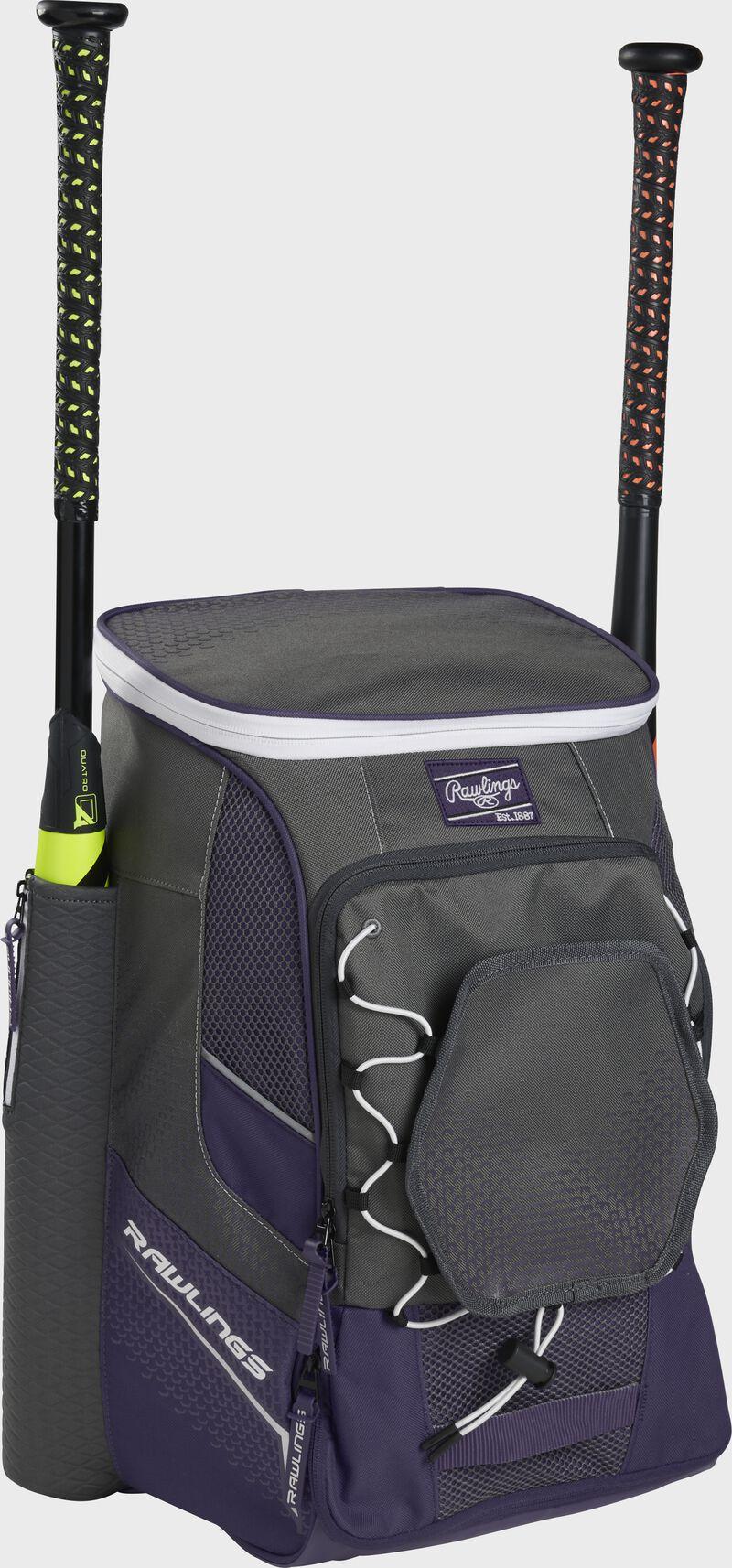 Front left angle of a purple Rawlings Impulse baseball gear backpack with two bats - SKU: IMPLSE-PU