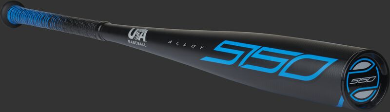 Angle view of a 2021 Rawlings 5150 baseball bat with a black end cap - SKU: US15