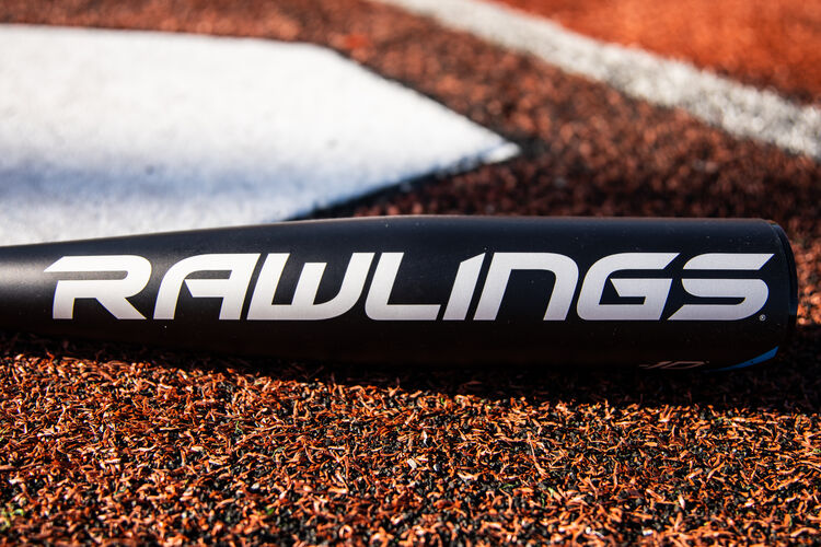 White Rawlings logo on a 5150 youth baseball bat on a field next to home plate - SKU: US15