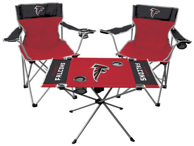 Front of Rawlings Black and Red NFL Atlanta Falcons 3-Piece Tailgate Kit With Two Kickoff Chairs, An Endzone Table, And A Transport Bag With Team Logo SKU #01041060511