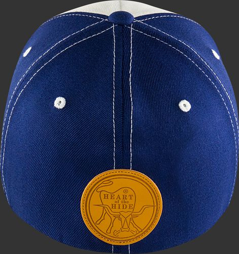 Back of Rawlings White, Yellow, and Blue Black Clover Heart of the Hide Fitted Hat SKU #BC0HOH0071