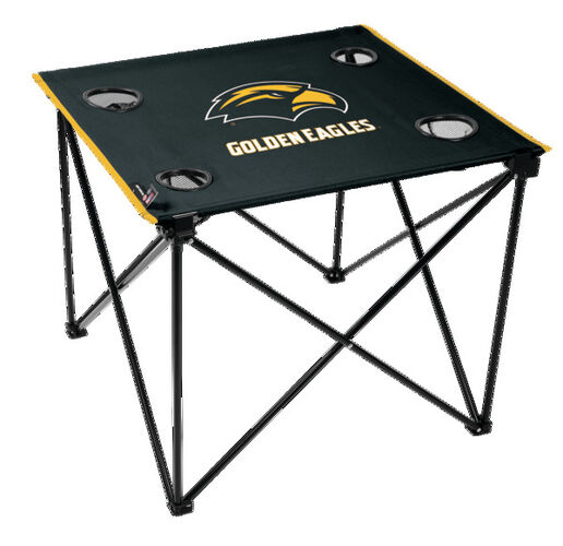 Rawlings Black NCAA Southern Miss Golden Eagles Deluxe Tailgate Table With Four Cup Holders and Team Logo Printed In The Middle SKU #00713193111