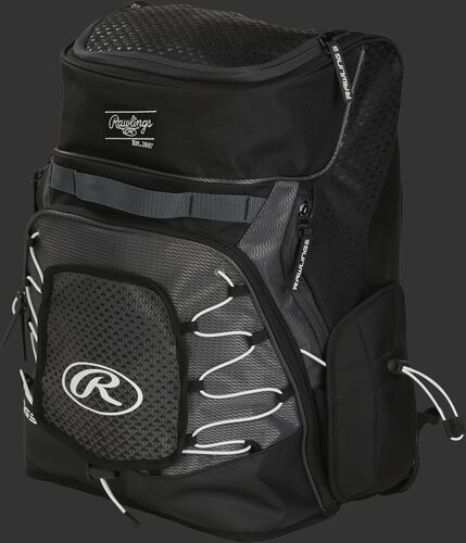 Front left of a black R800 softball backpack