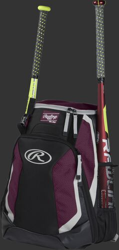 Left side of a black/maroon R500 baseball backpack with a red bat in the side sleeve