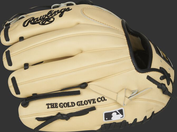 Camel fingers on a Rawlings 2021 HOH infield glove with the MLB logo on the pinkie - SKU: PRONP4-2CB
