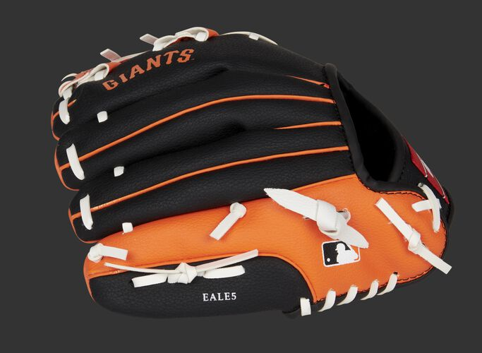 Back of a black/orange San Francisco Giants youth glove with the MLB logo on the pinky - SKU: 22000013111