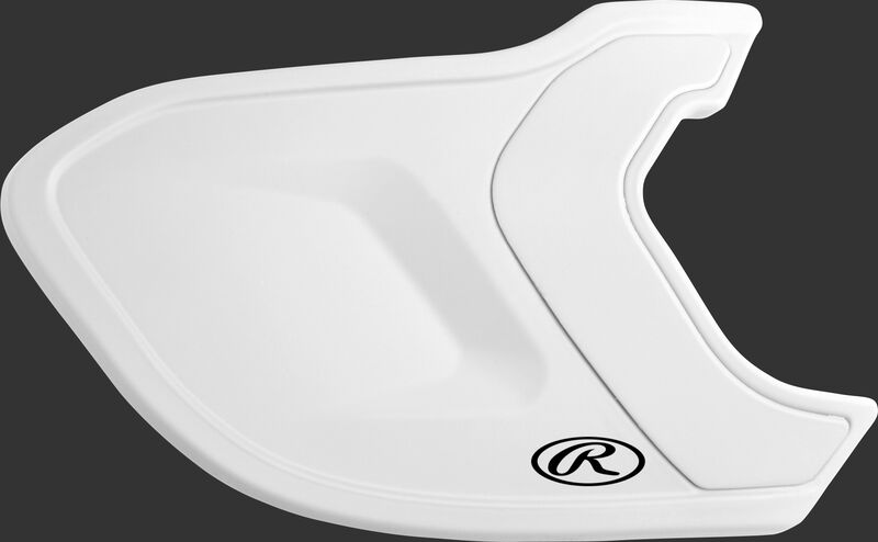 A matte white MEXTR Mach EXT batting helmet extension for right-handed batters