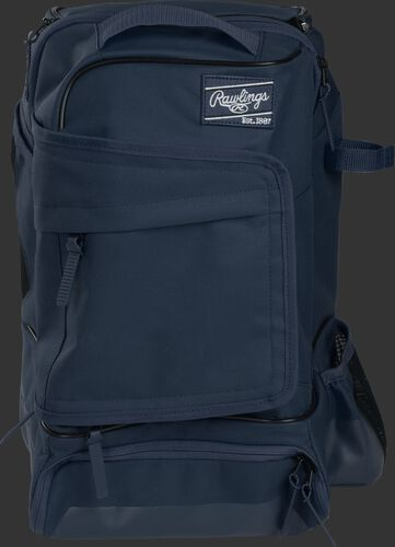 Front of a navy R701 Rawlings training backpack with a locker style front pocket