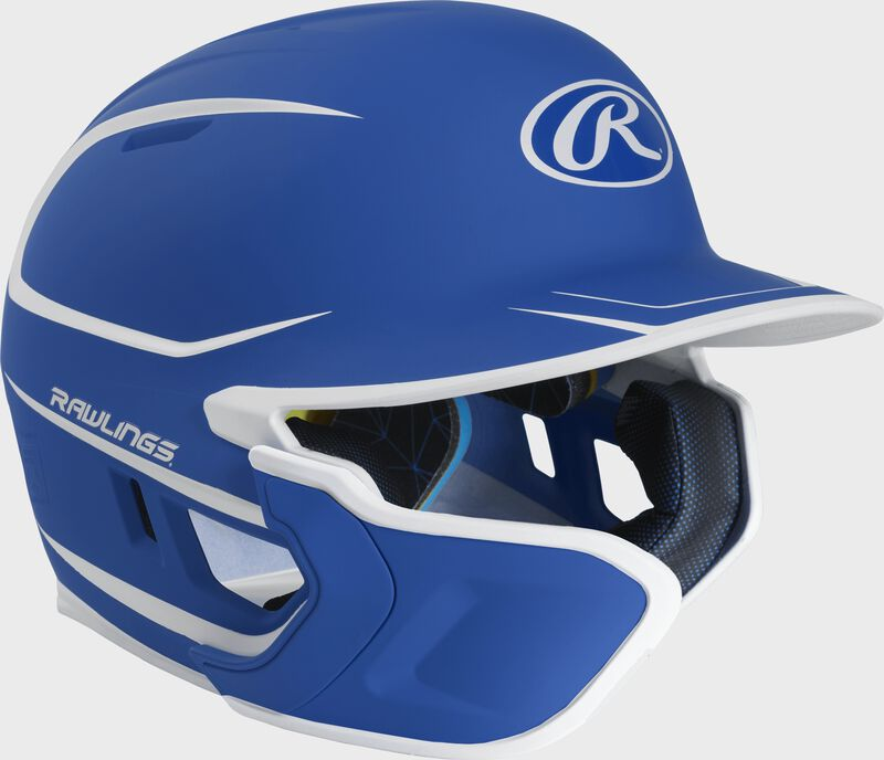 Right angle view of a matte royal/white MACHEXTR Mach Junior helmet with Mach EXT left hand batter face guard extension
