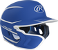 Right angle view of a matte royal/white MACHEXTR Mach Junior helmet with Mach EXT left hand batter face guard extension image number null
