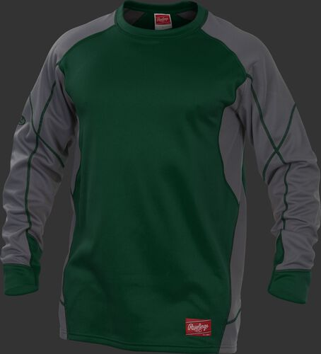 UDFP4 Dugout fleece pullover jacket with a dark green body, grey sleeves and dark green stitching