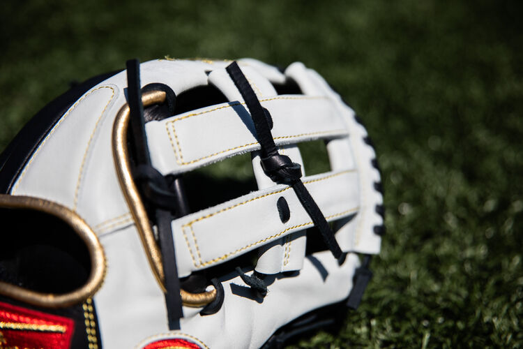 White H-Web on an Encore outfield glove sitting on a field - SKU: EC1225-6BW