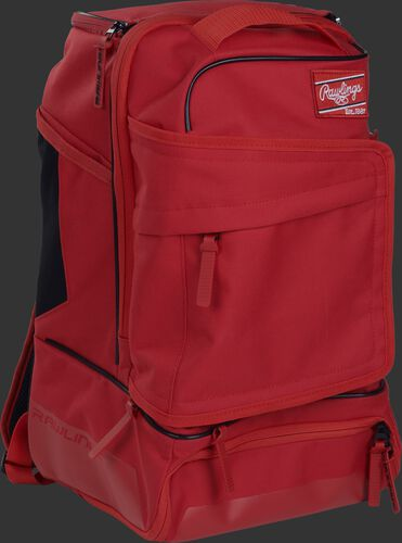 Right angle of a scarlet R701 baseball backpack