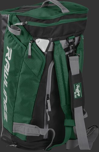 Angled view of a dark green R601 Rawlings hybrid bag standing up like a backpack