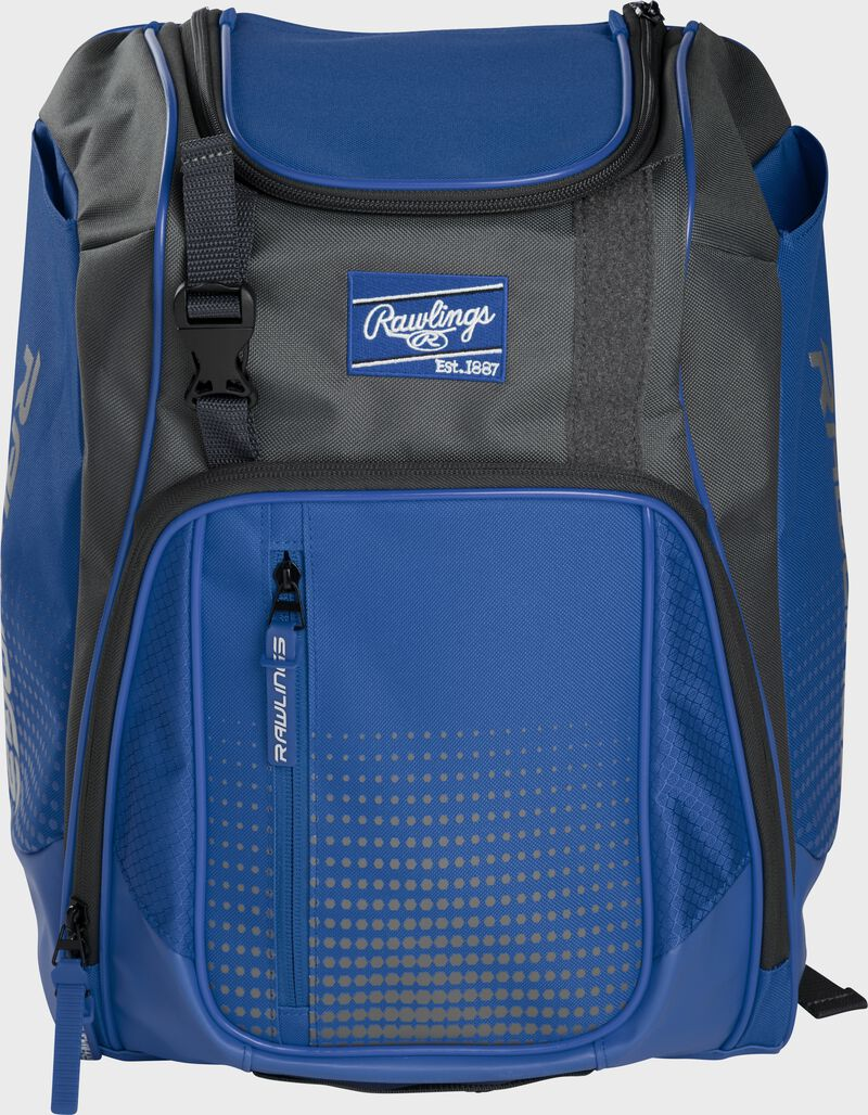Front of a royal Franchise baseball backpack with gray accents and a royal Rawlings patch - SKU: FRANBP-R